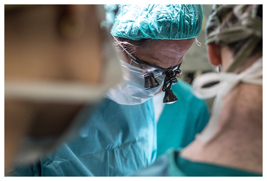 Doctor conducting eye surgery for glaucoma