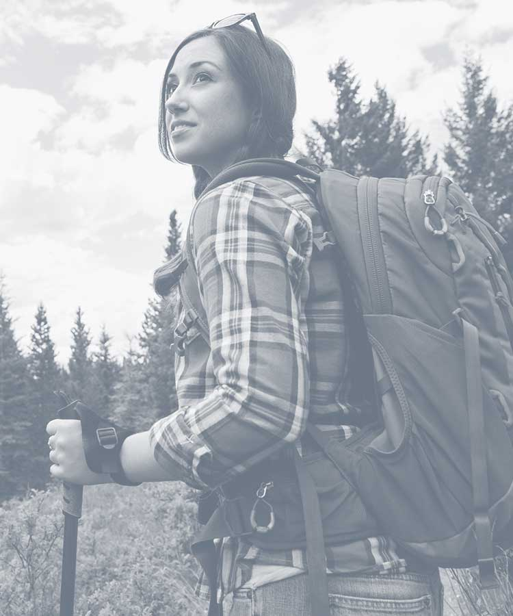 Young woman backpacking