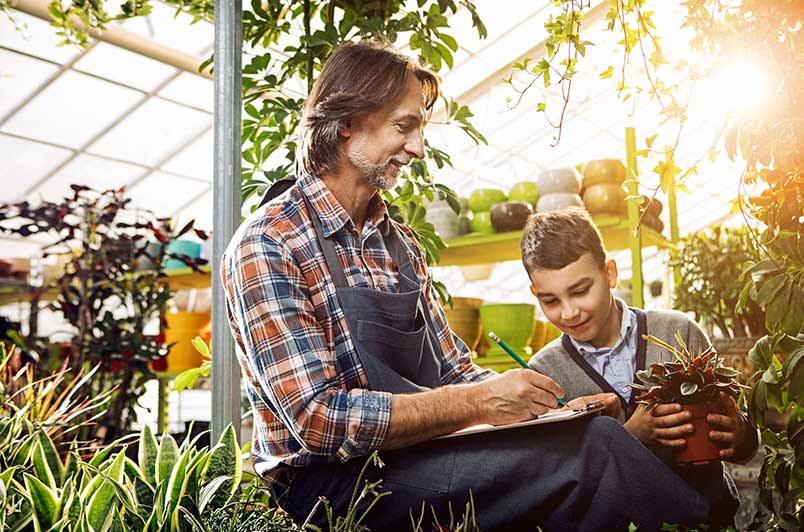 Man and boy in greenhouse