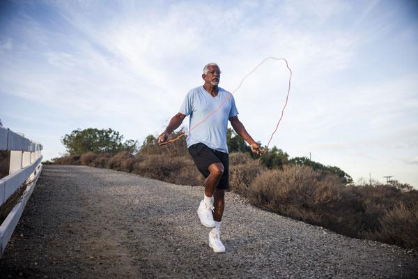 Man using a jump rope