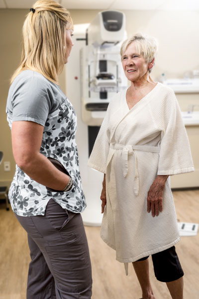 Patient with Mammography Technologist