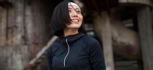 Woman in sweatsuit Smiling