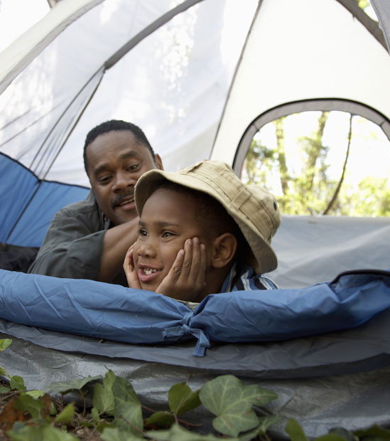 Father and son Camping