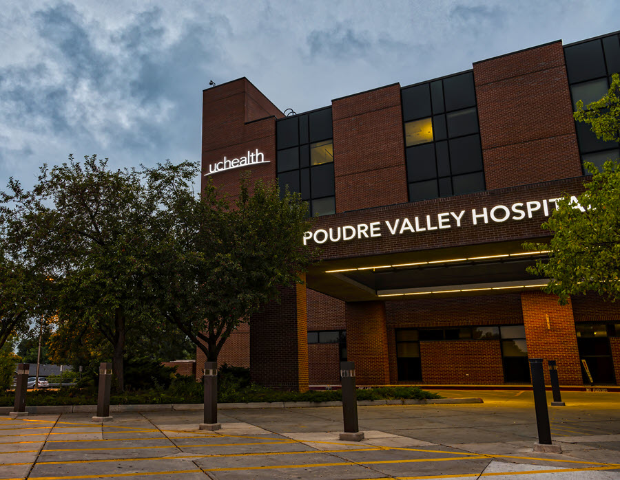 UCHealth Poudre Valley Hospital at dusk