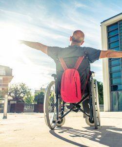 Man in wheelchair soaking up the sun