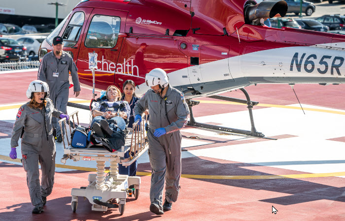 UCHealth helicopter crew transporting patient