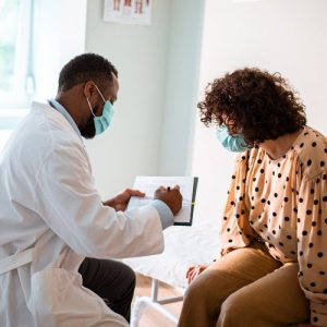 Doctor sharing information with patient