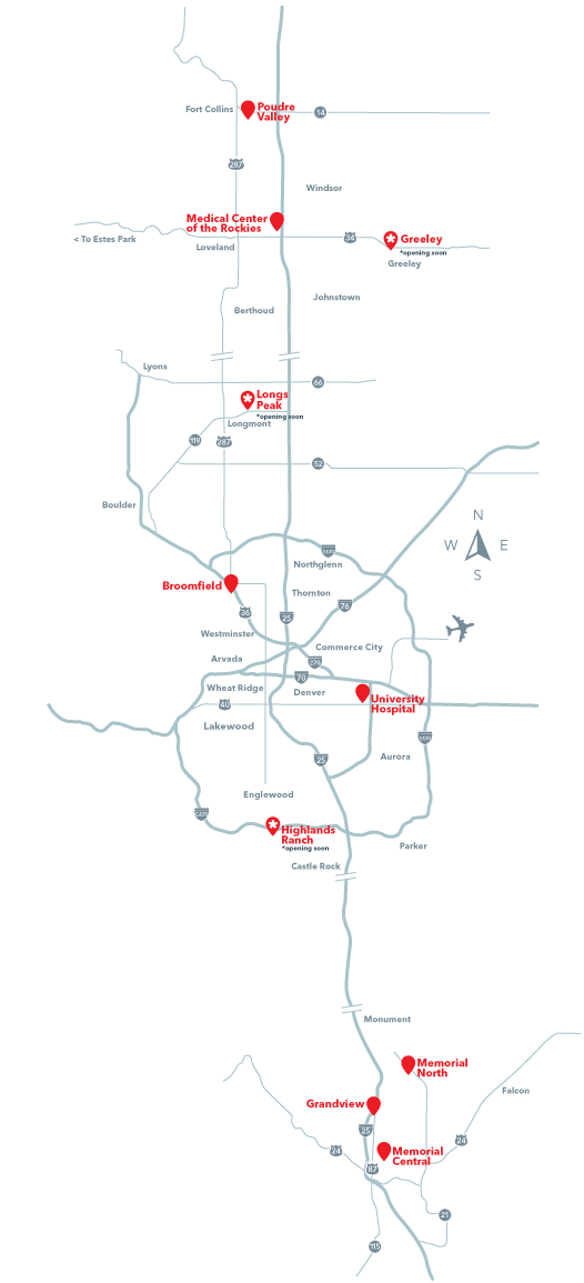 Denver Map of UCHealth Locations