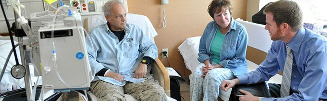 Patients consult with a cancer specialist at the CU Cancer Center in Aurora, Colorado.