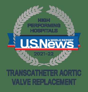 U.S. News High Performing Hospitals MCR 2021-22 TAVR badge
