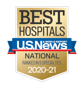 US News Best Hospitals 2020-21 U.S. News & World Report badge ranked in 9 specialties - University of Colorado Hospital | UCHealth