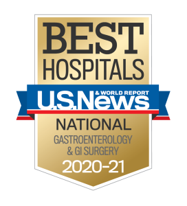 US News Best Hospitals 2020-21 Gastroenterology and GI surgery badge