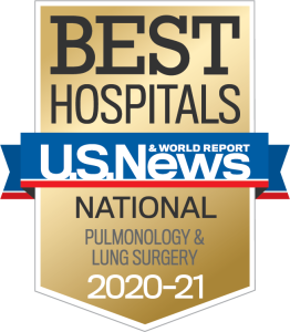 US News Best Hospitals 2020-21 Pulmonology & Lung Surgery badge