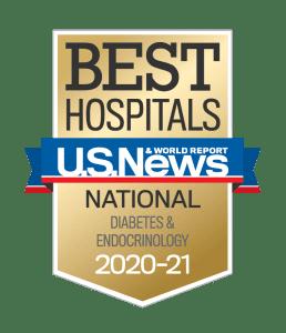 US News Best Hospitals 2020-21 Diabetes & Endocrinology badge