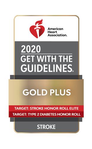 AHA GWTG 2020 Gold Plus Stroke DB badge