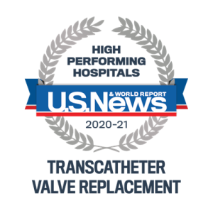 US News High Performing Hospitals 2020-21 TAVR badge