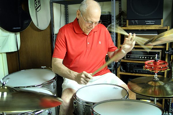 Steve Hoffelt plays the drums in the basement of his Greeley home. At first, Hoffelt, 70, chalked up symptoms of coronary heart disease to just getting old. But luckily, doctors didn't and were able to help Hoffelt before it was too late.