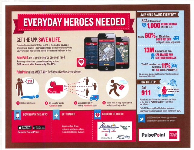 Everyday heroes needed! Get the app. Save a life. Sudden Cardiac arrest (SCA) is one of the leading causes of preventable deaths. The Pulsepoint app alerts bystanders -- like you -- who can help victims before professional help can arrive. PulsePoint alerts you to nearby people in need. For every minute that passes before help arrives, SCA survival odds decrease by 7-10%. Pulsepoint is like Amber Alert for sudden cardiac arrest victims.