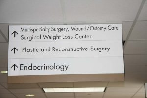 A sign in a hospital.