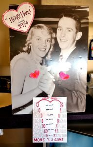 """This photo shows a couple in an old photo from when they met. """"Viv"""" and """"Woody"""" had their first date at a University of Wyoming dance in 1954. They'll celebrate 60 years of marriage in 2017."""