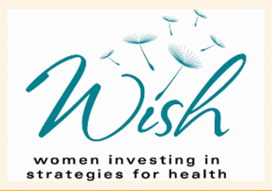 A sign says WISH: women investing in strategies for health