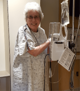 Sharon Harvey after surgery at Memorial Hospital during their approach to cancer battle.