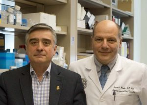 Daniel Winnica, PhD, left, joined the University of Colorado School of Medicine faculty with Holguin, a longtime collaborator on cellular-level asthma research.