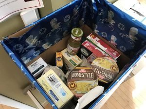 One of the food drive donation boxes at the Internal Medicine Lowry Clinic.