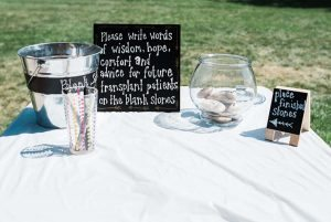 "Reunion attendees were invited to write ""words of wisdom"" for future transplant recipients on stones. Photo courtesy Kelly Pacic."