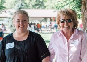 Lynn Kelly, a stem cell transplant patient (right) who received her care at UCH, with BMT social worker Kirsten Thornton during a BMT reunion in September. Photo courtesy Kelly Pacic.
