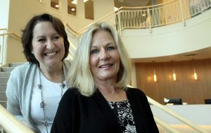 This is a photo of Deanna Scott and Kathy James, who are spearheading Knitted Knocker efforts in Colorado.