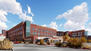 This image shows an artist's rendering of a new addition under construction at UCHealth Memorial Hospital North.