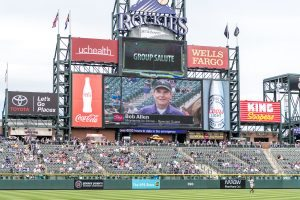 This photo shows Bob Allen on the big screen display at a Colorado Rockies baseball game.