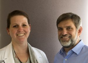 Headshots of Shelley Brake, a physician assistant, and Dr. Robert Carson, who both work on wound care.