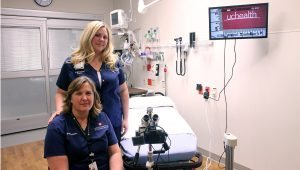 Two nurses show a special exam room at UCHealth Poudre Valley Hospital that is designed for sexual assualt survivors.