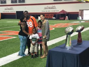 Stroke survivor David Kenyatta, enjoyed Father's Day at the Broncos' UCHealth practice facility with his wife, Candance, son, David and daughters, Kennedi and Dominique.