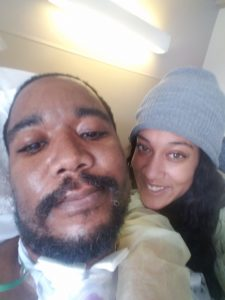 David Kenyatta with his wife, Candance, as he was recovering from his stroke.