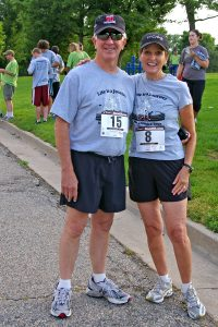 Jeanne Lambert and her husband, John, are pictured at the Run for Hope 5K in Fort Collins' City Park.