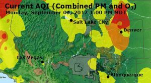 Map showing air quality index.