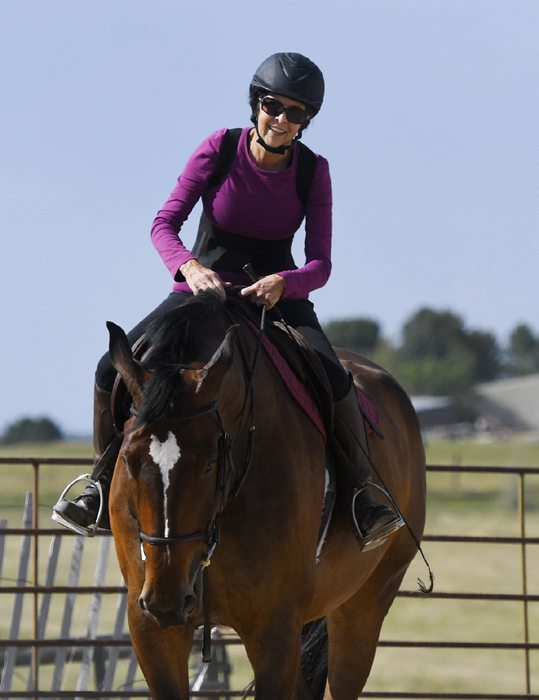 Vera Pacca is doing well after her liver transplant. Here, she rides her daughter's horse, Henry, after not having ridden for a few years.