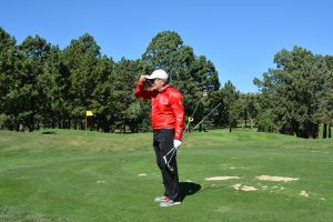 Dr. Peter Schunk gets ready to hit a few balls at The Broadmoor Golf Club in Colorado Springs.