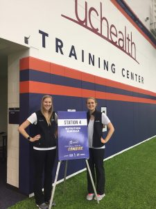 Erica Midgley and Hope Oglesby at the UCHealth training center.