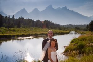 Ellie and her husband, Phil, on their wedding day in the Tetons.