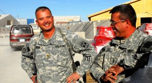 Lt. Col. Richard Weichel, left, with his one of his brothers, while on active duty.