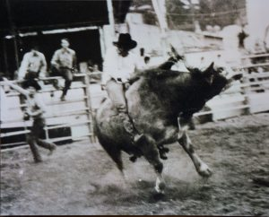 J.D. Hill competing in a bull riding event in a European Rodeo Cowboys Association rodeo in 1986 in Berlin.