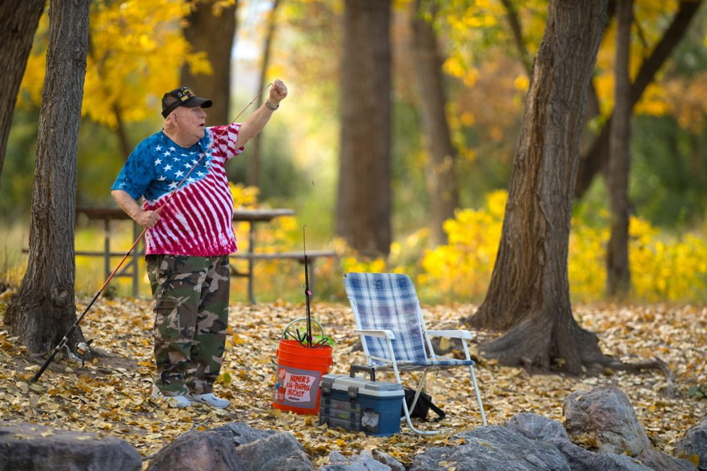J.D. Hill fishes at a pond near his Colorado Springs home