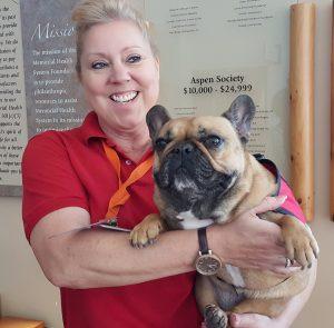 Xena the Warrior Princess dog held by Sonji Martin