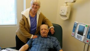 Bill McDuffie and his wife, Grace, are pictured at the UCHealth University of Colorado Cancer Center.