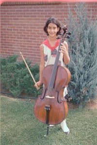 Ten-year-old Andrea Meyers is shown with her school cello in the 1960s.