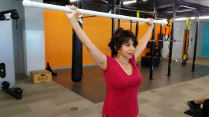 In this photo, Andrea Meyers exercises as part of the BFitBWell program.